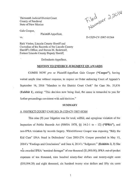 Requesting My District Court Judge's Order for Defendants' Payment of Awards